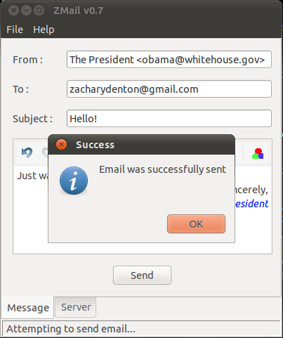 Successfully sent email
